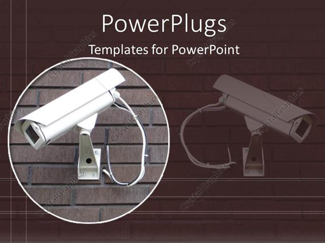 powerpoint template: white security camera on brick wall in brown, Presentation templates