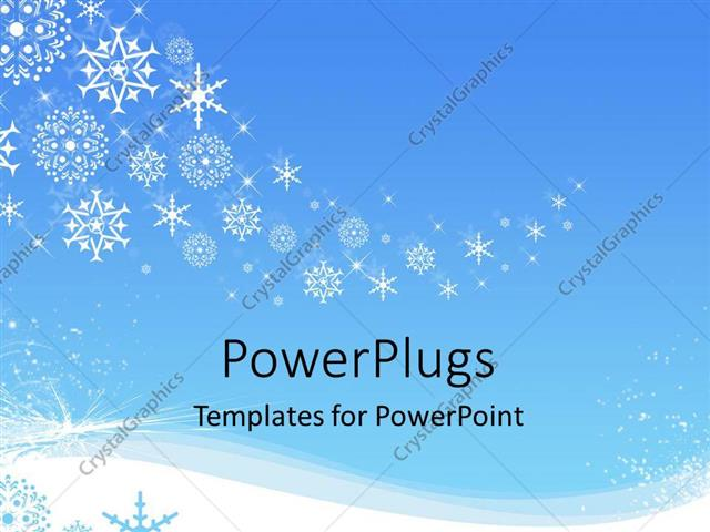 Powerpoint Template White Snowflakes Snowing In Winter On A Blue