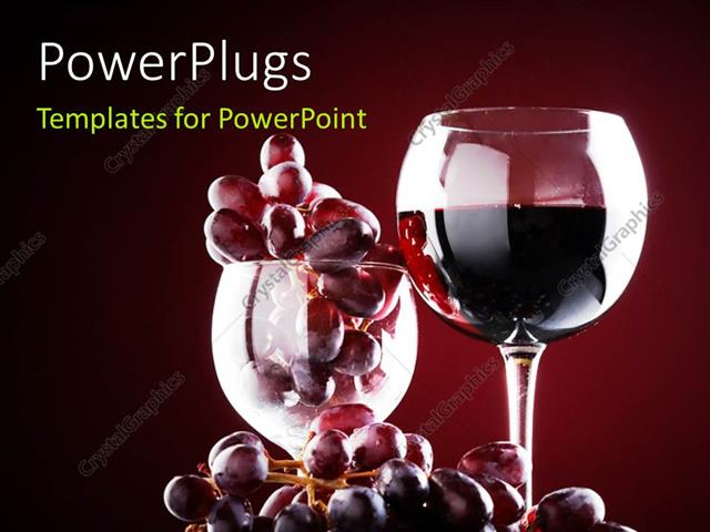 Powerpoint template wine glass with red wine and red grapes over powerpoint template displaying wine glass with red wine and red grapes over a dark maroon background toneelgroepblik Gallery