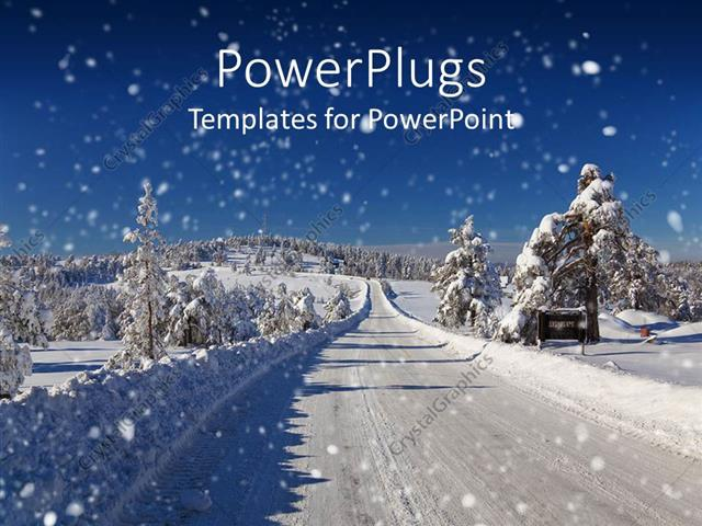 Powerpoint Template Winter Snow Covered Road And Trees Road Snow