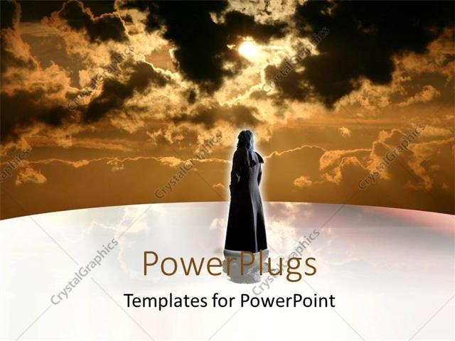 PowerPoint Template Displaying a Woman with a Number of Clouds in the Background