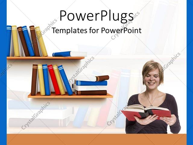 powerpoint template: woman reading book with bookshelf, education, Modern powerpoint