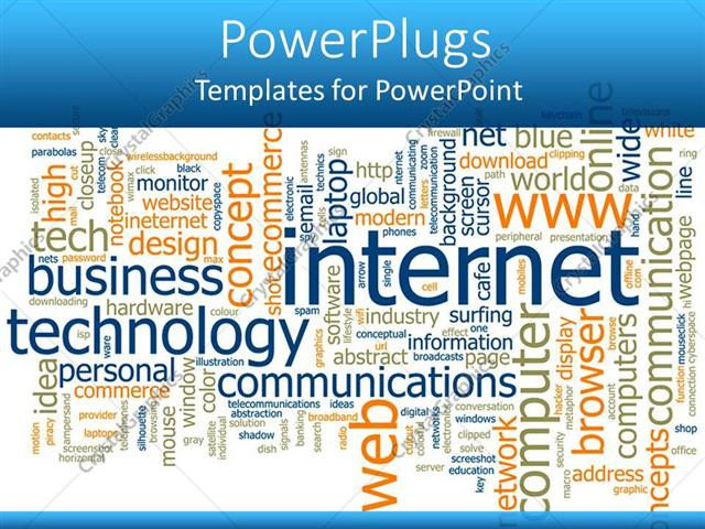 powerpoint template: word cloud with words related to internet, Powerpoint templates