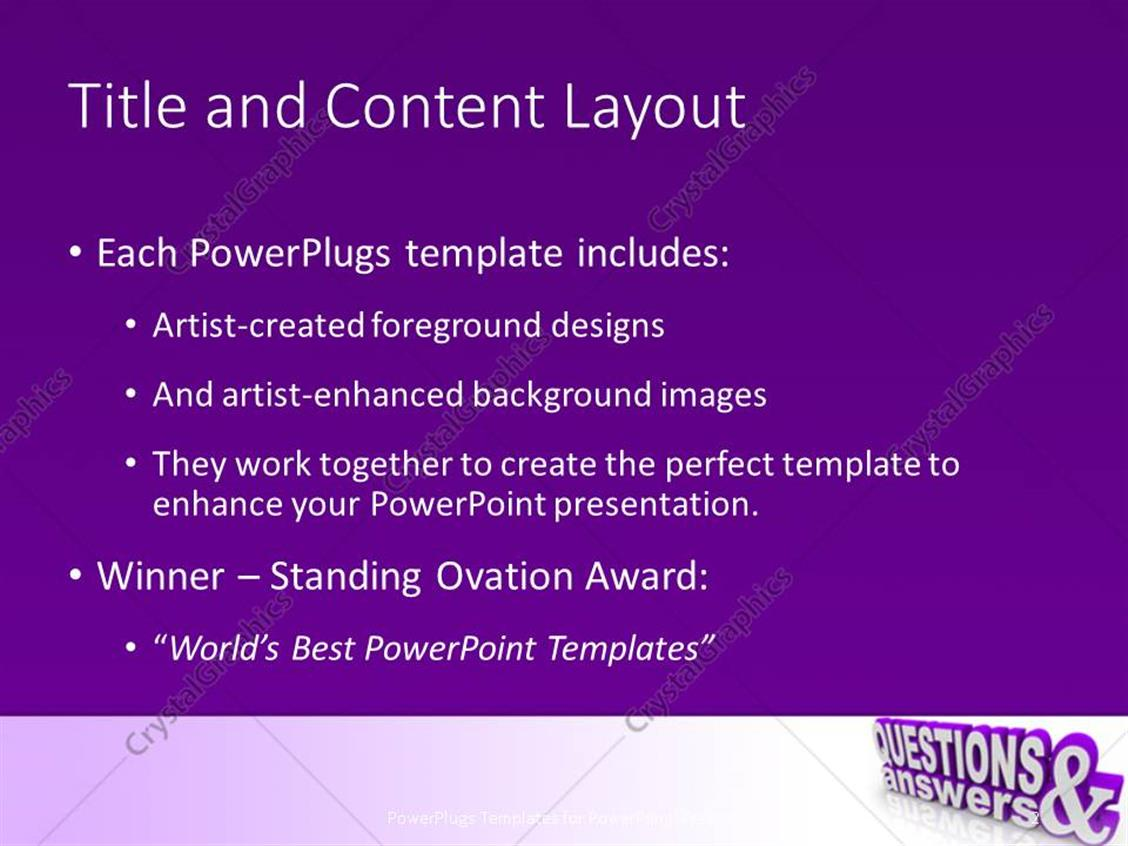 powerpoint template: words questions and answers in 3d on an angle, Modern powerpoint