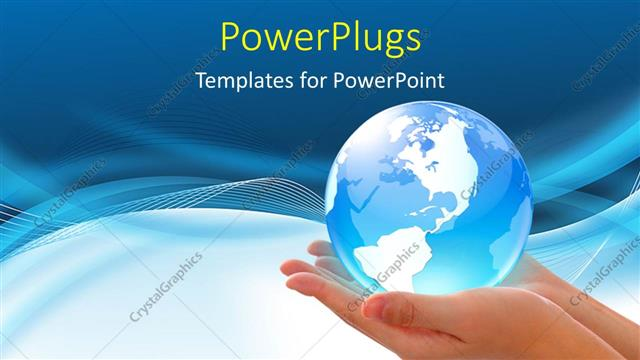 powerpoint template: world in hand, global internet business, Modern powerpoint
