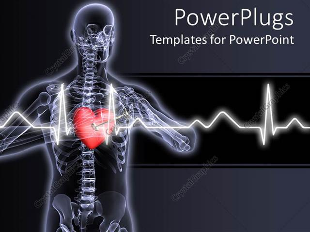 Powerpoint template x ray vision of man with red heart and pulses powerpoint template displaying x ray vision of man with red heart and pulses showing toneelgroepblik Gallery