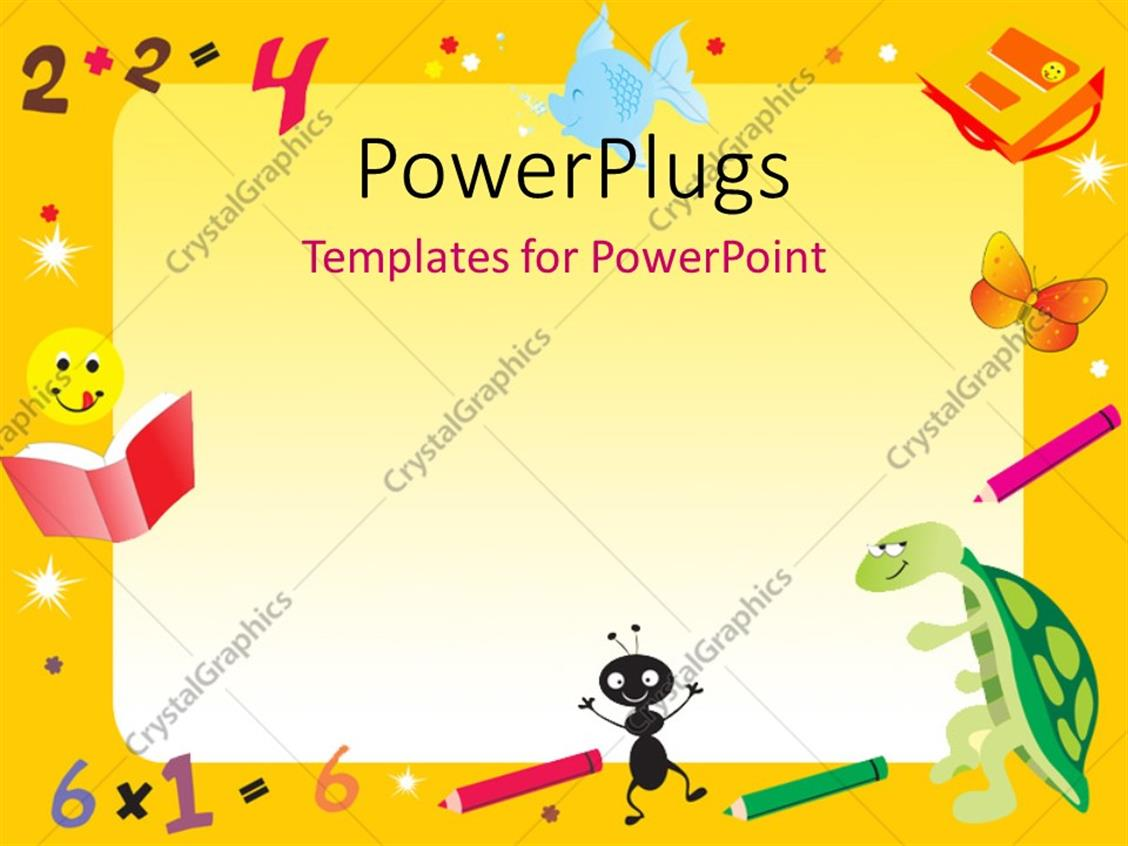 powerpoint template yellow abstract frame for kids with
