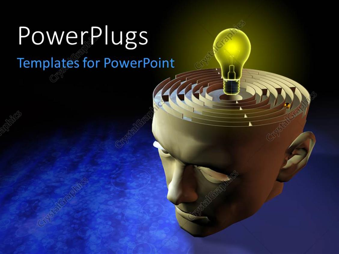 PowerPoint Template Displaying Yellow Light Bulb on Depiction
