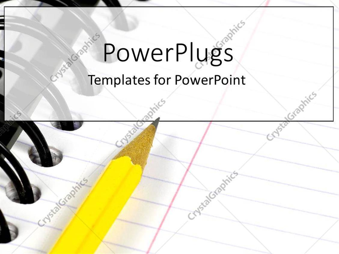 PowerPoint Template Displaying a Yellow Pencil Writing in a Notebook or Binder for School or College as a Metaphor on a White Background