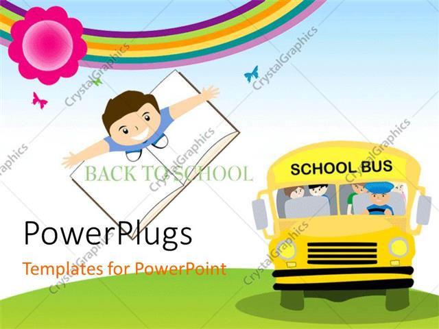 PowerPoint Template: Yellow School Bus Transporting