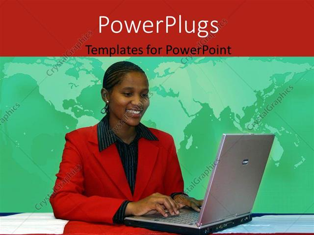 Powerpoint template young african american woman operating laptop powerpoint template displaying young african american woman operating laptop with world map in toneelgroepblik Gallery