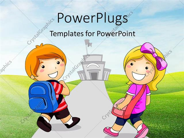PowerPoint Template Displaying Young Boy and Girl Going to School