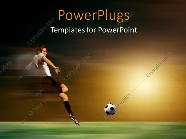 powerpoint template: young soccer player in acrobatic with sunset, Powerpoint templates