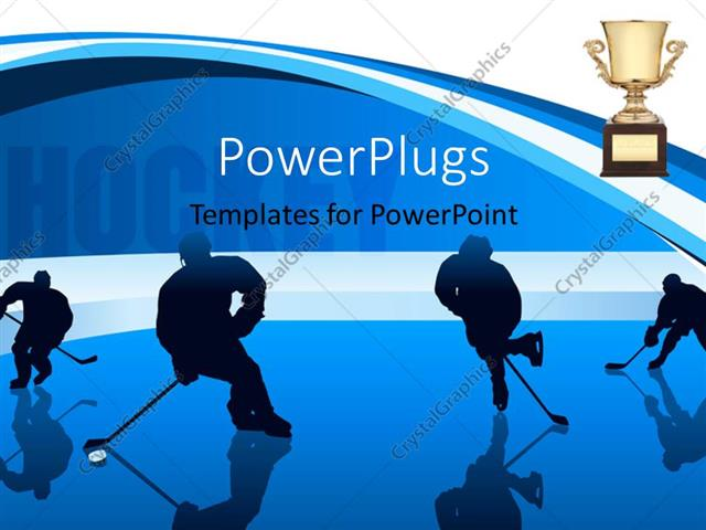 Powerpoint template youth playing hockey with hockey keyword and powerpoint template displaying youth playing hockey with hockey keyword and trophy in background toneelgroepblik Images